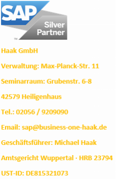 SAP Business One Impressum