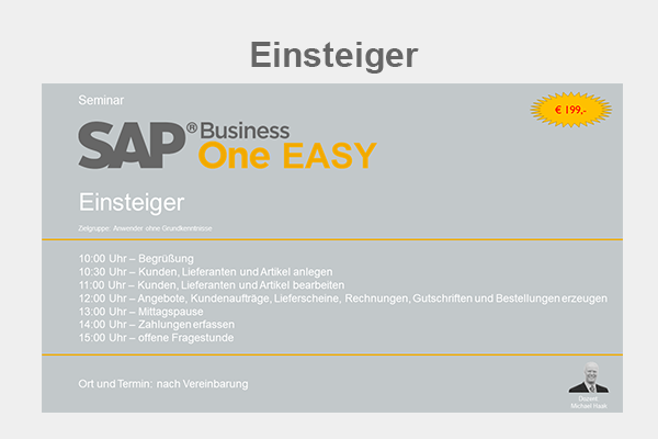 SAP Business One Seminar - Einsteiger