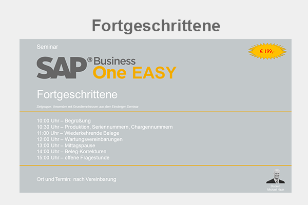 SAP Business One Seminar - Fortgeschrittene
